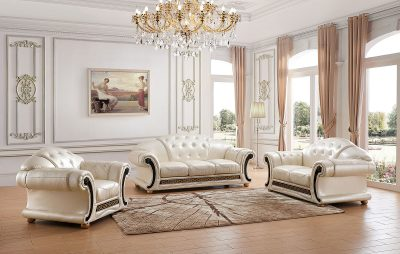 Living Room Furniture Leather Classic 3 pcs  Sets Apolo Pearl
