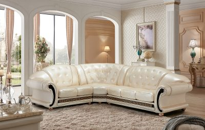 Living Room Furniture Leather Sectionals Apolo Sectional Pearl